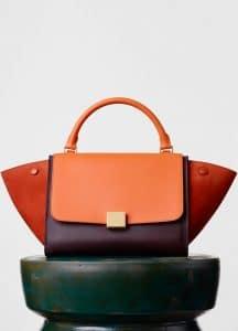 Celine Orange/Brick/Burgundy Smooth Calfskin Trapeze Small Bag