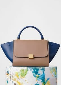 Celine Taupe/Blue Calfskin:Water Snake Trapeze Small Bag