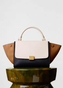 Celine White/Tan/Black Smooth Calfskin Trapeze Small Bag