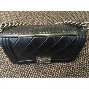 Chanel Black Embossed Paris-Salzburg Boy Old Medium Bag 3