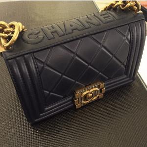 Chanel Black Embossed Paris-Salzburg Boy Old Medium Bag