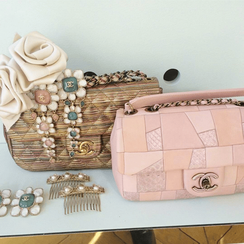 Chanel Gold/Pink Flap Bags - Cruise 2016