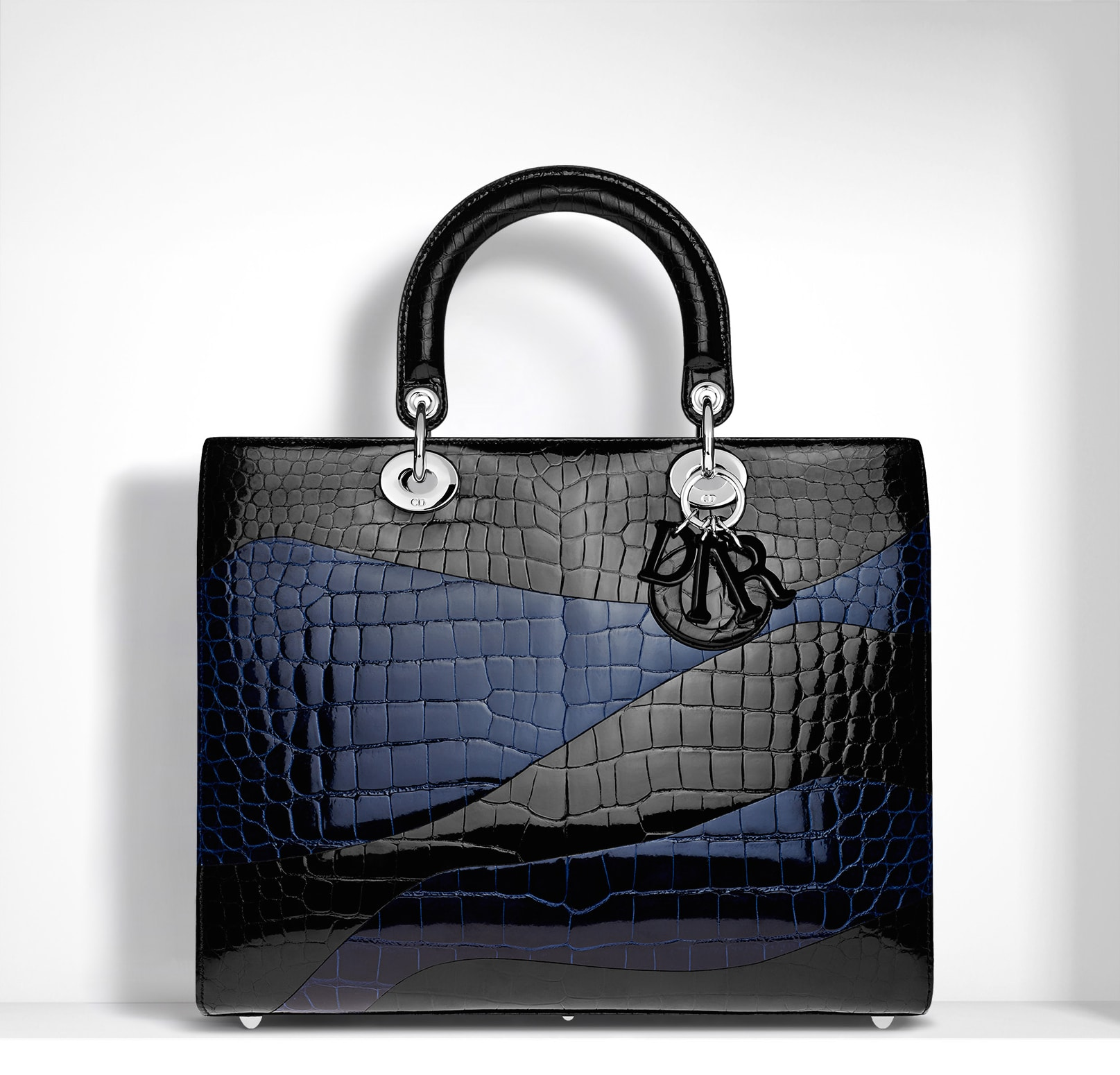 90f497cef1b Dior Black Blue Marquetry with Zebra Prints Lady Dior Large Bag