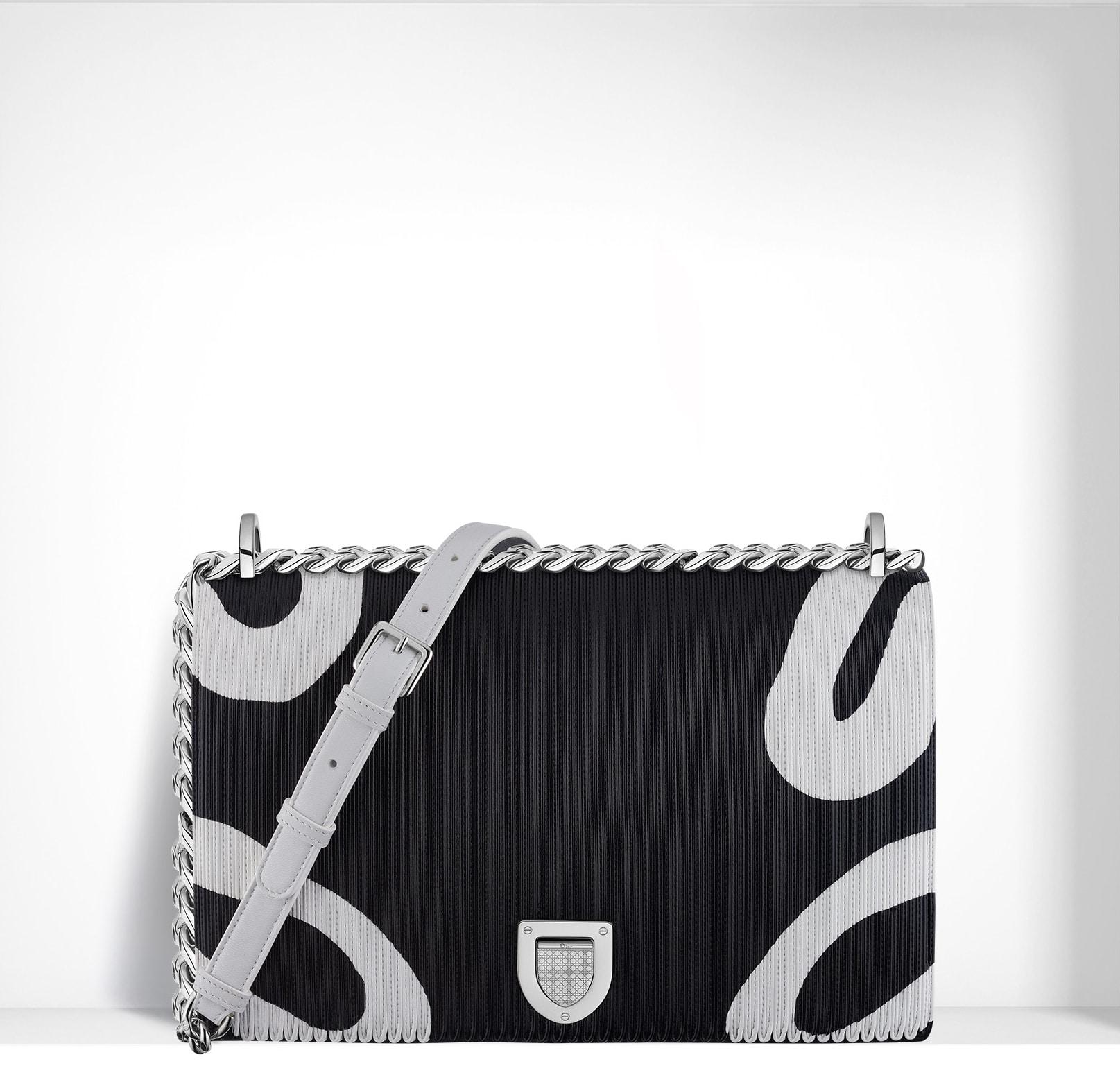 63d68b895de69 Dior Black White Animal Print Diorama Flap Large Bag