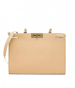 Fendi Beige Leather Peekaboo Clutch Bag