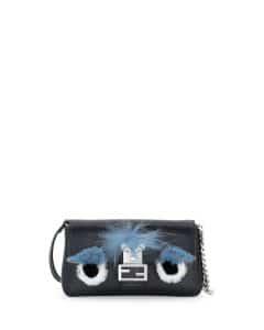 Fendi Black Monster Baguette Micro Bag