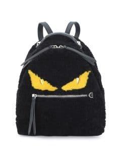 Fendi Black Shearling Fur Monster Mini Backpack Bag