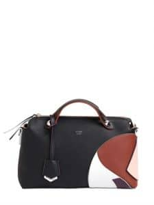 Fendi Black/Brown/White Marquetry By The Way Small Bag