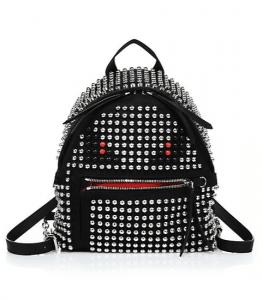 Fendi Black/Silver Studded Monster Mini Backpack Bag