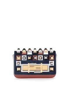 Fendi Blue Multicolor Calf Hair Studded Baguette Mini Bag