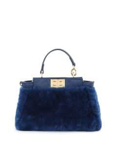 Fendi Blue Shearling Peekaboo Micro Bag