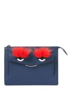 Fendi Dark Blue Monster Leather Clutch Bag