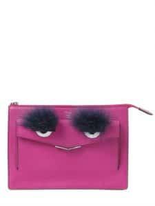Fendi Fuchsia Monster Leather Clutch Bag