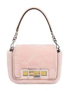 Fendi Light Pink Shearling Baguette Bag