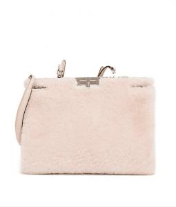 Fendi Light Pink Shearling Peekaboo Clutch Bag