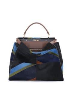 Fendi Multicolor Calf Hair Marquetry Peekaboo Large Bag