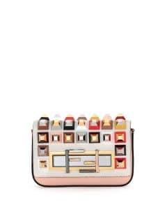 Fendi Multicolor Calf Hair Studded Baguette Mini Bag