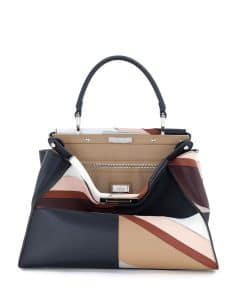 Fendi Multicolor Patchwork Marquetry Peekaboo Medium Bag