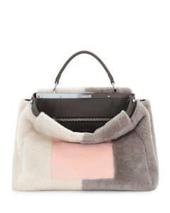 Fendi Pink/White/Gray Shearling Peekaboo Large Bag