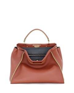 Fendi Red Painted-Edge Peekaboo Large Bag