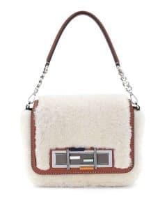Fendi White Shearling Baguette Bag