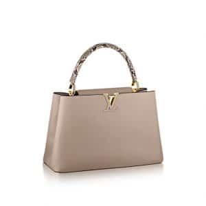 Louis Vuitton Beige with Python Handles Capucines MM Bag