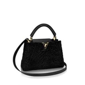Louis Vuitton Black Astrakan Capucines BB Bag