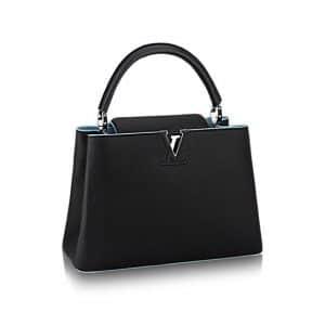 Louis Vuitton Black/Light Blue Capucines MM Bag