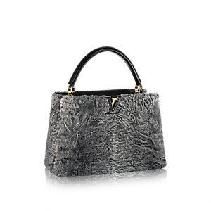 Louis Vuitton Grey Astrakan Capucines MM Bag