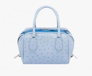 Prada Astral/Ocean Blue Ostrich Inside Small Bag