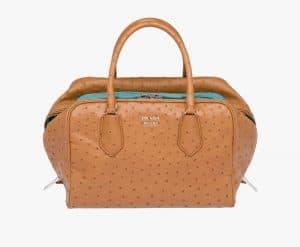 Prada Caramel/Anise Ostrich Inside Medium Bag