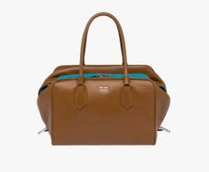 Prada Cinnamon/Turquoise Inside Large Bag