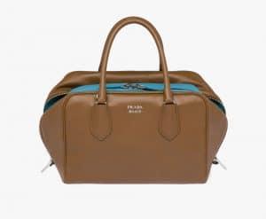 Prada Cinnamon/Turquoise Inside Medium Bag