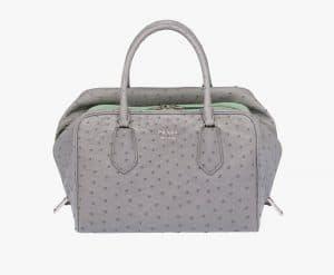 Prada Cloudy Gray/Aquamarine Ostrich Inside Medium Bag