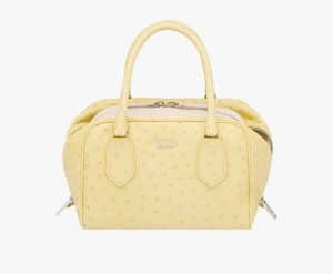 Prada Pineapple/Waxy White Ostrich Inside Small Bag