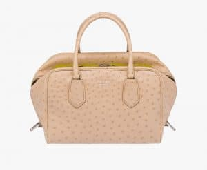 Prada Sand/Sage Green Ostrich Inside Medium Bag