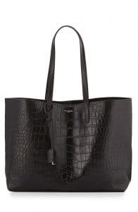 Saint Laurent Black Croc Embossed Shopping Tote Large Bag