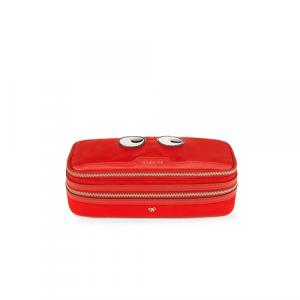 Anya Hindmarch Bright Red Nylon Eyes Make Up Pouch Bag