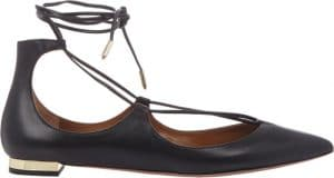 Aquazzura Black Christy Flat Leather Ballerinas