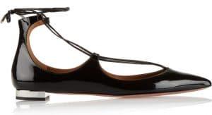 Aquazzura Black Patent Christy Flat Leather Ballerinas