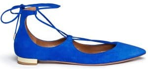 Aquazzura Blue Christy Flat Suede Ballerinas