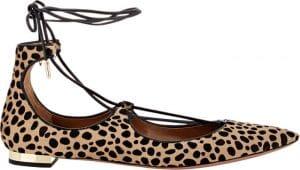 Aquazzura Cheetah Print Calf Hair Christy Flat Ballerinas