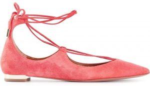 Aquazzura Coral Christy Flat Suede Ballerinas