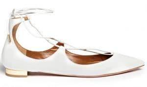 Aquazzura White Christy Flat Leather Ballerinas
