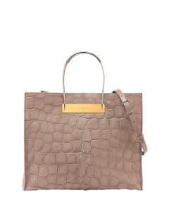 Balenciaga Beige Croc Embossed Calf Hair Cable Shopper Bag