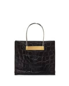 Balenciaga Black Croc Embossed Calf Hair Cable Shopper Small Bag