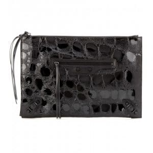 Balenciaga Black Croc Embossed Patent Classic Pouch Bag