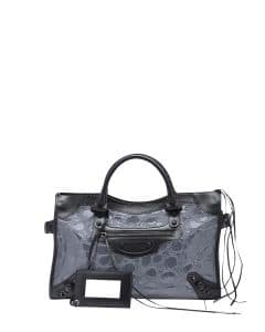 Balenciaga Gray/Black Croc Embossed Patent Classic City Bag