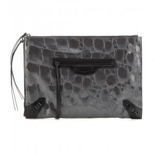 Balenciaga Grey Croc Embossed Patent Classic Pouch Bag