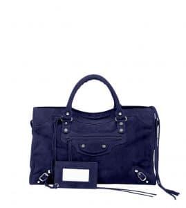Balenciaga Navy Blue Baby Daim Classic City Bag